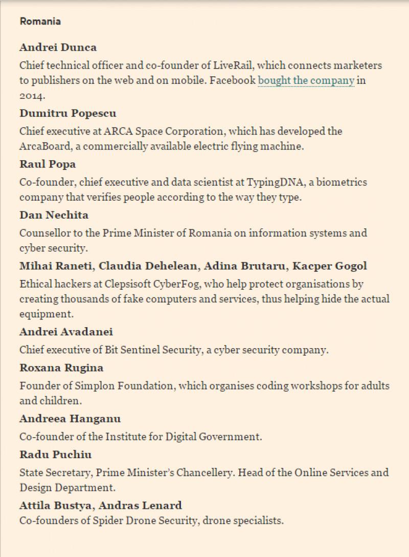 lista romani financial times