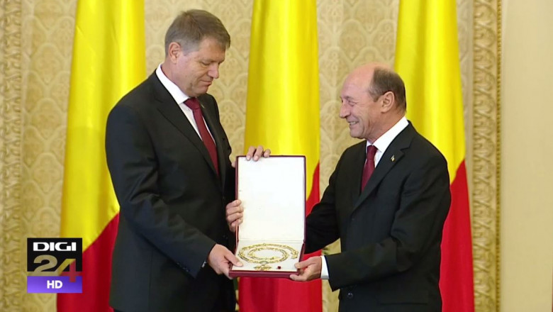 Klaus Iohannis si Traian Basescu inmanare colan