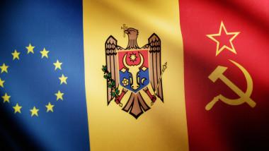 Grafica steag Republica Moldova UE sau Rusia