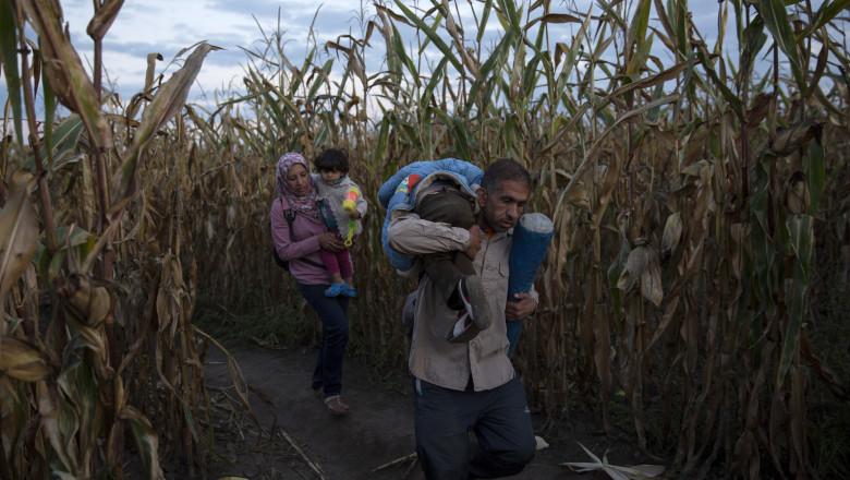 refugiati pe drum ungaria GettyImages-487301362