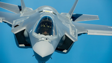 A U.S. Air Force pilot navigates an F-35A Lightning II aircraft assigned to the 58th Fighter Squadron 33rd Fighter Wing into position to refuel with a KC-135 Stratotanker assigned to the 336th Air Refueling 13