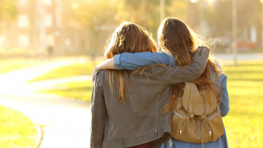 Affectionate friends walking at sunset in a park