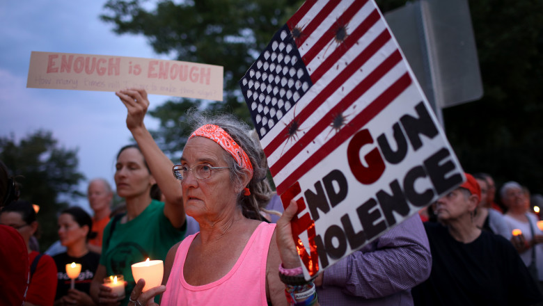 Vigil Held Outside NRA HQ For Mass Shooting Victims In Dayton And El Paso