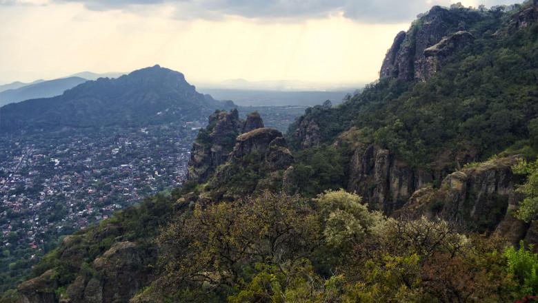 Panoramic view from the mountain of Tepozteco, Tepoztlán, Morelos, Mexico. Tepoztlán, magical village