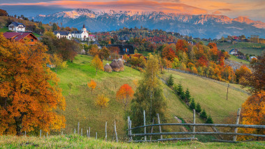 Autumn alpine rural landscape near Brasov, Magura, Transylvania, Romania, Europe
