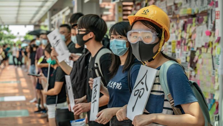Studenți protestatari în Hong Kong