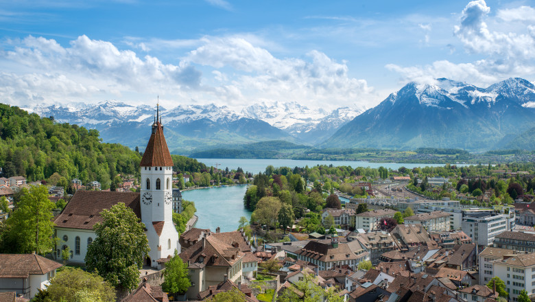 The historic city of Thun, in Bern Switzerland