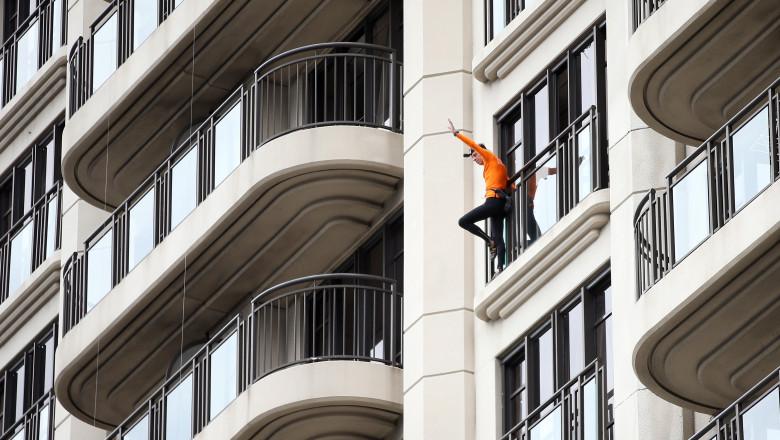 Alain Robert Climbs Metropolis Building In Auckland
