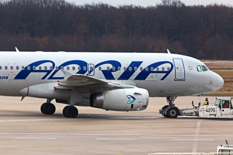 adria airways airplane at cologne bonn airport germany