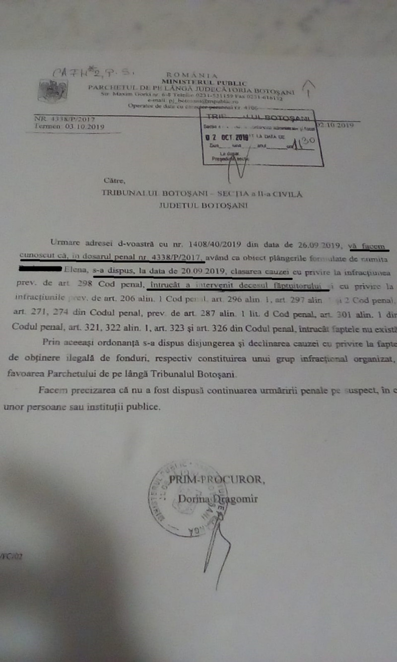 document primar declarat decedat