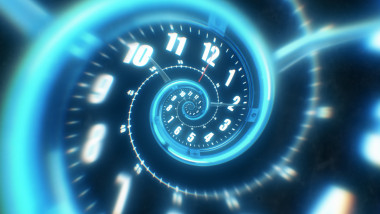 Rotating spiral of a luminous clock from numbers. Abstract 3d illustration