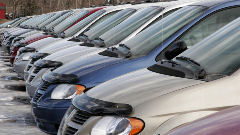 Cars in a row at a car dealership