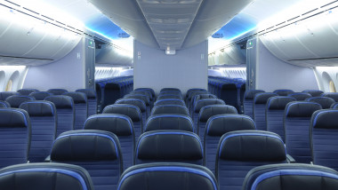 boeing avion 787 dreamliner commercial airplane cabin interior with blue leather seats