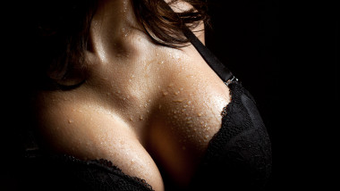 Wet breast in bra