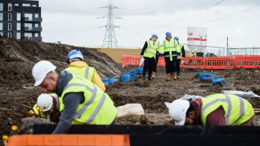 Zac Goldsmith And David Cameron Visit A Housing Construction Site