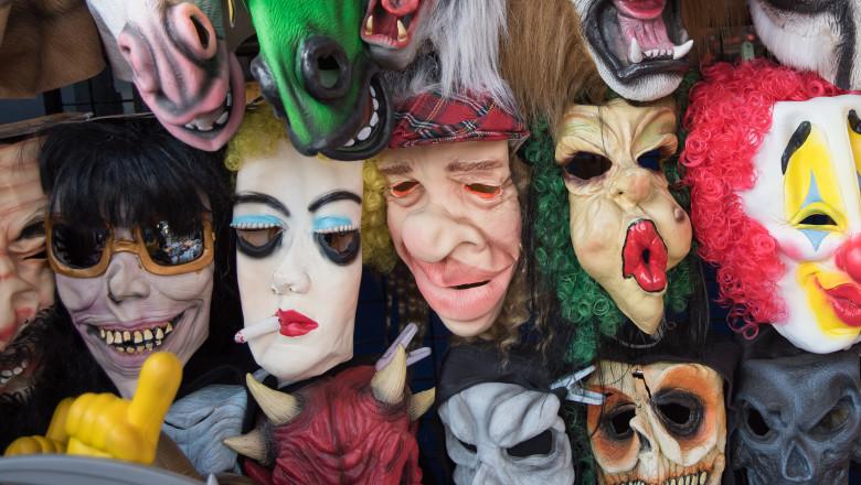 Halloween masks in street shop