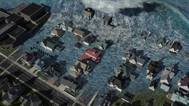 Tsunami wave apocalyptic water view urban flood Storm. 3D illustration
