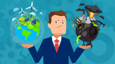 Flat design vector of a man holding healthy and prosperous earth in comparison with damaged planet making choice.