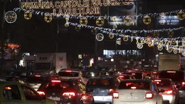 bucuresti trafic si lumini iarna