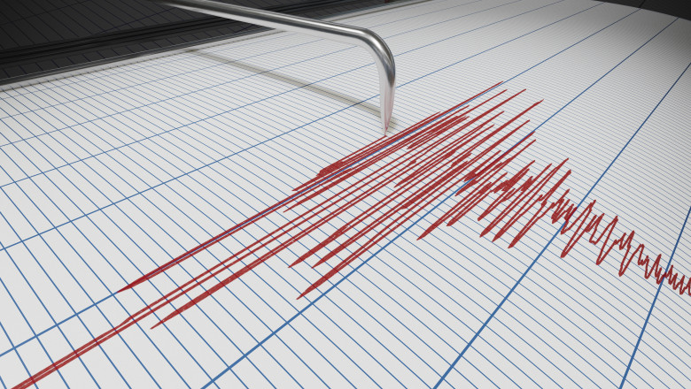 Seismograph for earthquake detection or lie detector is drawing chart. 3D rendered illustration.