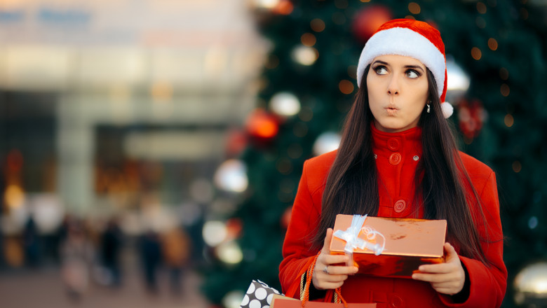 Christmas Shopping Girl with Bags and Gift Box