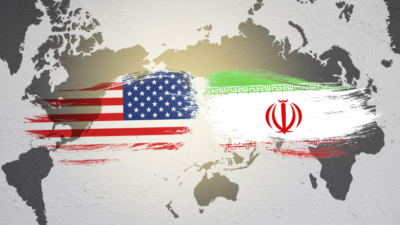 USA and Iran flag on world map. United state of America and Iran have conflict in nuclear weapons and Strait of Hormuz.