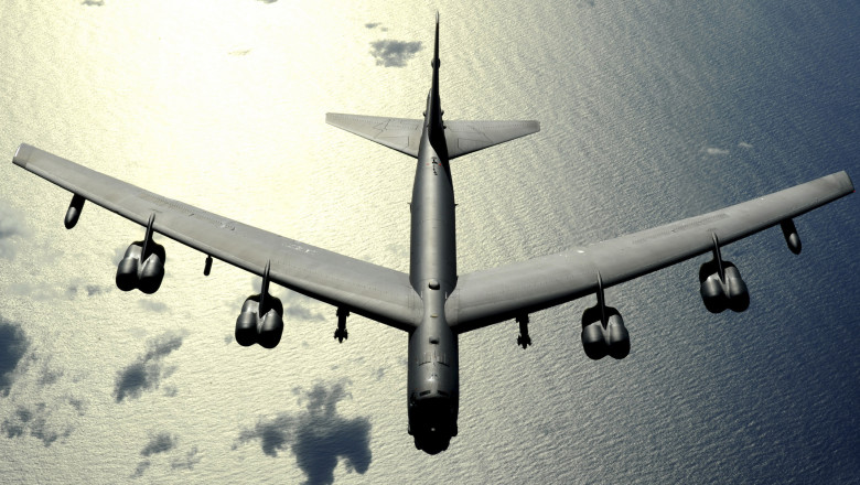 November 12, 2008 - A B-52 Stratofortress in flight over the Pacific Ocean.