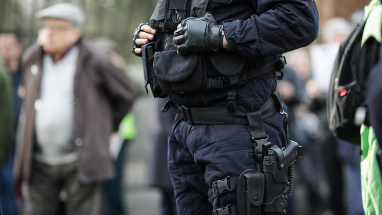 Details of the security kit of a riot police officer