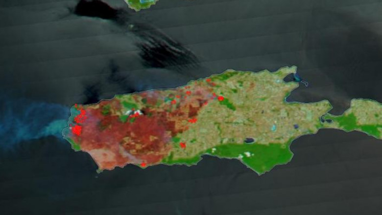 fotografie din satelit incendii Australia