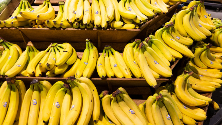 Hands of fresh yellow bananas on wooden shelves in groceries