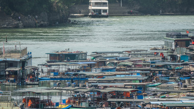 A huge amount of small boats on a river in China
