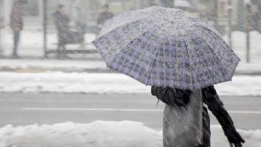 meteo vreme ninsoare zapada iarna umbrela frig femeie