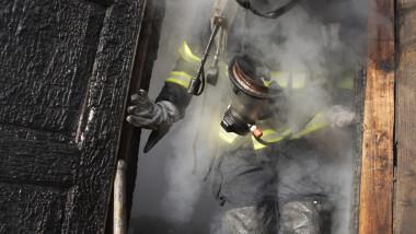 Firefighter in smoke