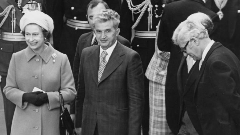 Regina Elisabeta a II a și Nicolae Ceaușescu