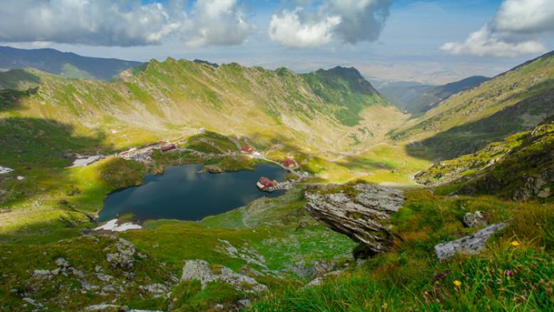 Balea lake in Fagaras mountains, Romania