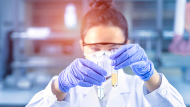 Female scientist analyzing sample in the laboratory