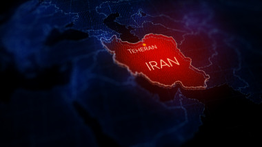 3d illustration, Middle east region map with Iran. Map of Iran a symbol of conflict