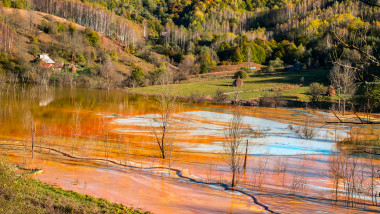 Rosia montana Lake with toxic waste water