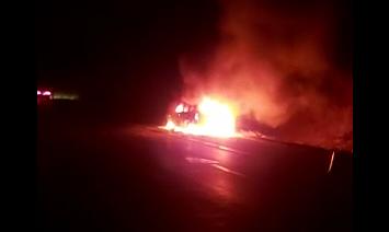 O masina a Poliţiei a luat foc pe autostrada A2. IGPR: Autovehiculul era fabricat in 2015