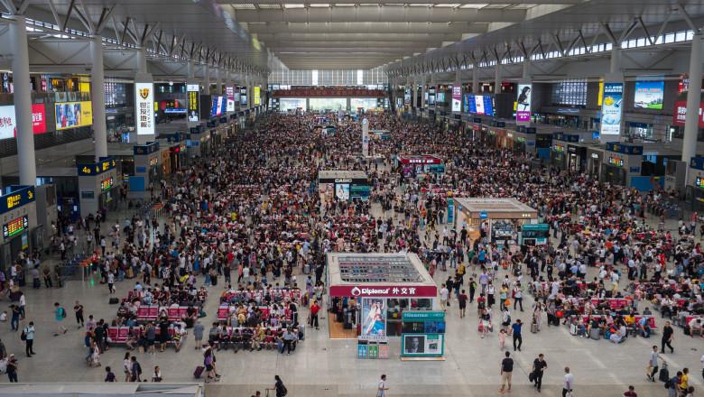 Shanghai, China August 2018, waiting room high speed train station