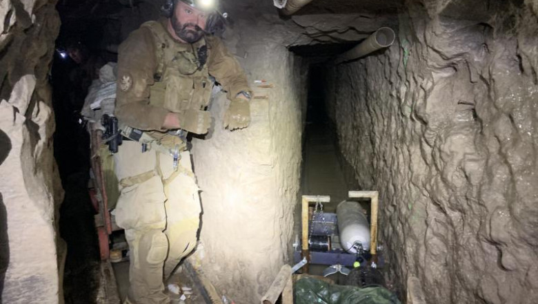 Tunel folosit de traficantii de droguri pentru a transporta substante interzise in Mexic 1