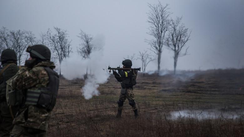 Ukrainian Troops Train Outside Of Mariupol