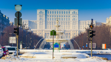 Bucharest city in winter. Parliament building