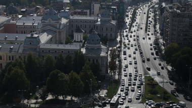 Bucharest city centre traffic