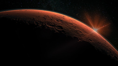 Mars high resolution image. Mars is a planet of the solar system. Sunrise with lens flare. Elements of this image furnished by NASA.