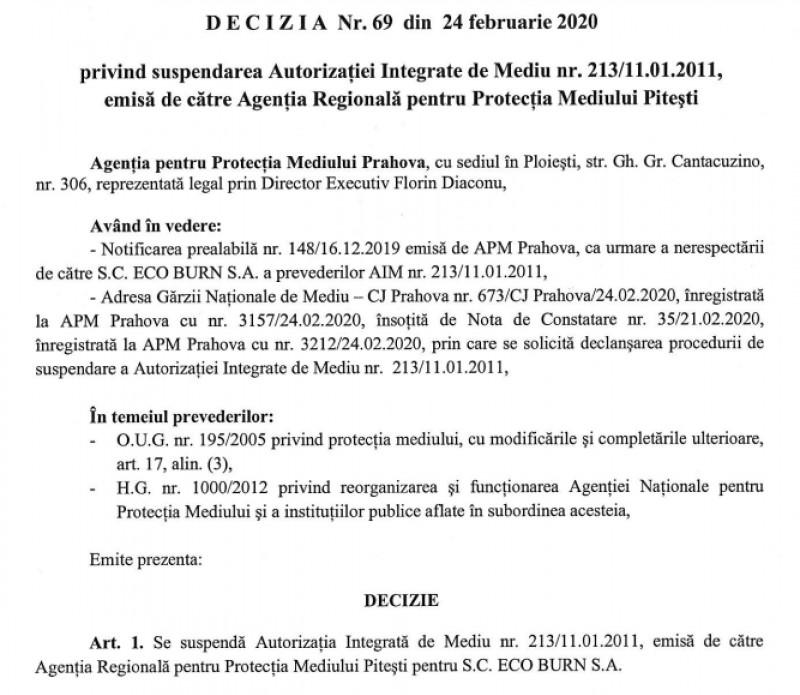 decizie APM Prahova suspendarea autorizatie Eco Burn