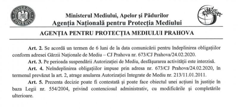 decizie APM Prahova suspendarea autorizatie Eco Burn 2