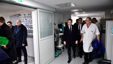 French President Emmanuel Macron visits the Pitie-Salpetriere hospital