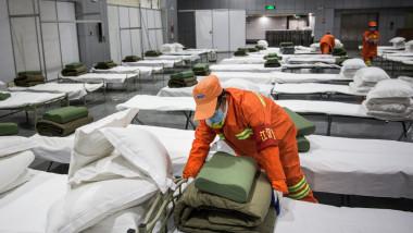 paturi într-un centru de carantina pacienți coronavirus Wuhan, China
