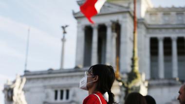 turist cu masca în Milano